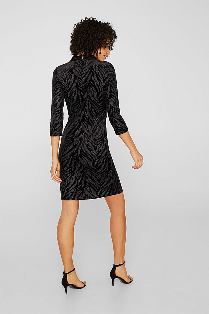 Glittering velvet dress in stretch jersey, BLACK, detail image number 2