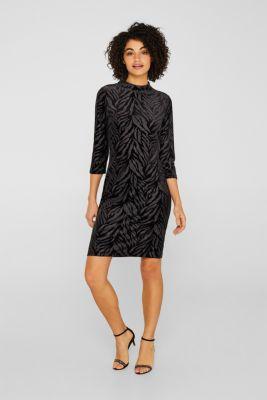Glittering velvet dress in stretch jersey, BLACK, detail