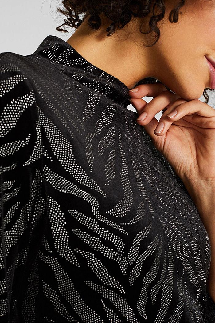 Glittering velvet dress in stretch jersey, BLACK, detail image number 3