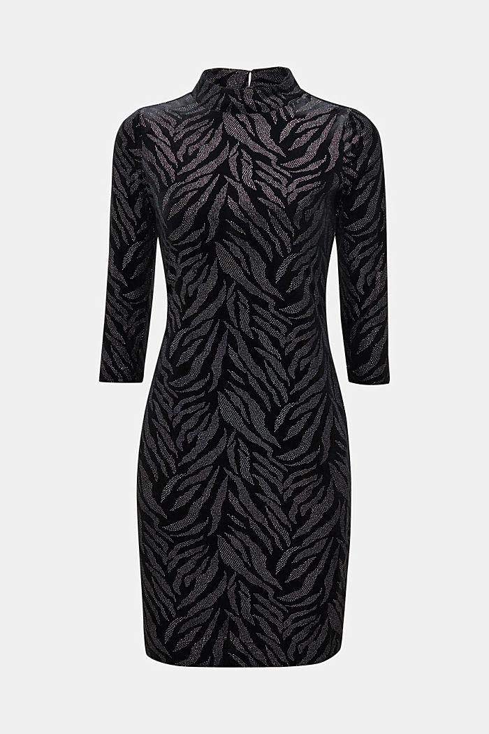 Glittering velvet dress in stretch jersey, BLACK, detail image number 6