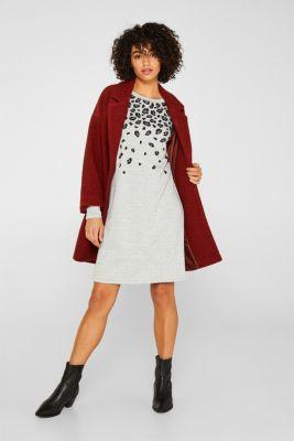 Fluffy sweatshirt fabric dress with an animal pattern, LIGHT GREY 5, detail