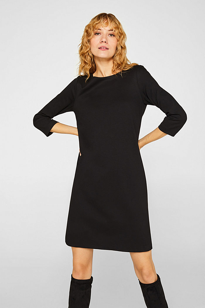 Stretch dress with a cut-out at the back, BLACK, detail image number 0