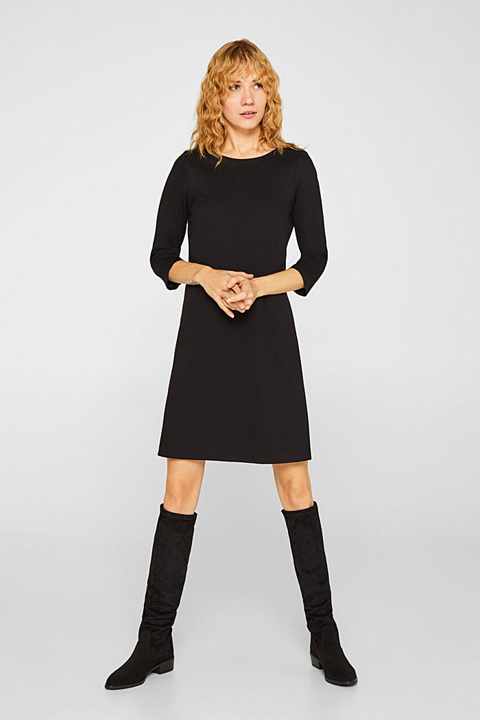 Stretch dress with a cut-out at the back, BLACK, detail image number 1