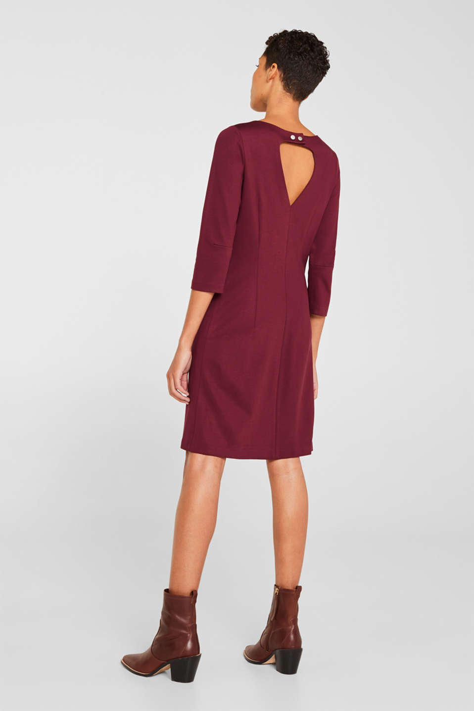 Stretch dress with a cut-out at the back, BORDEAUX RED, detail image number 3