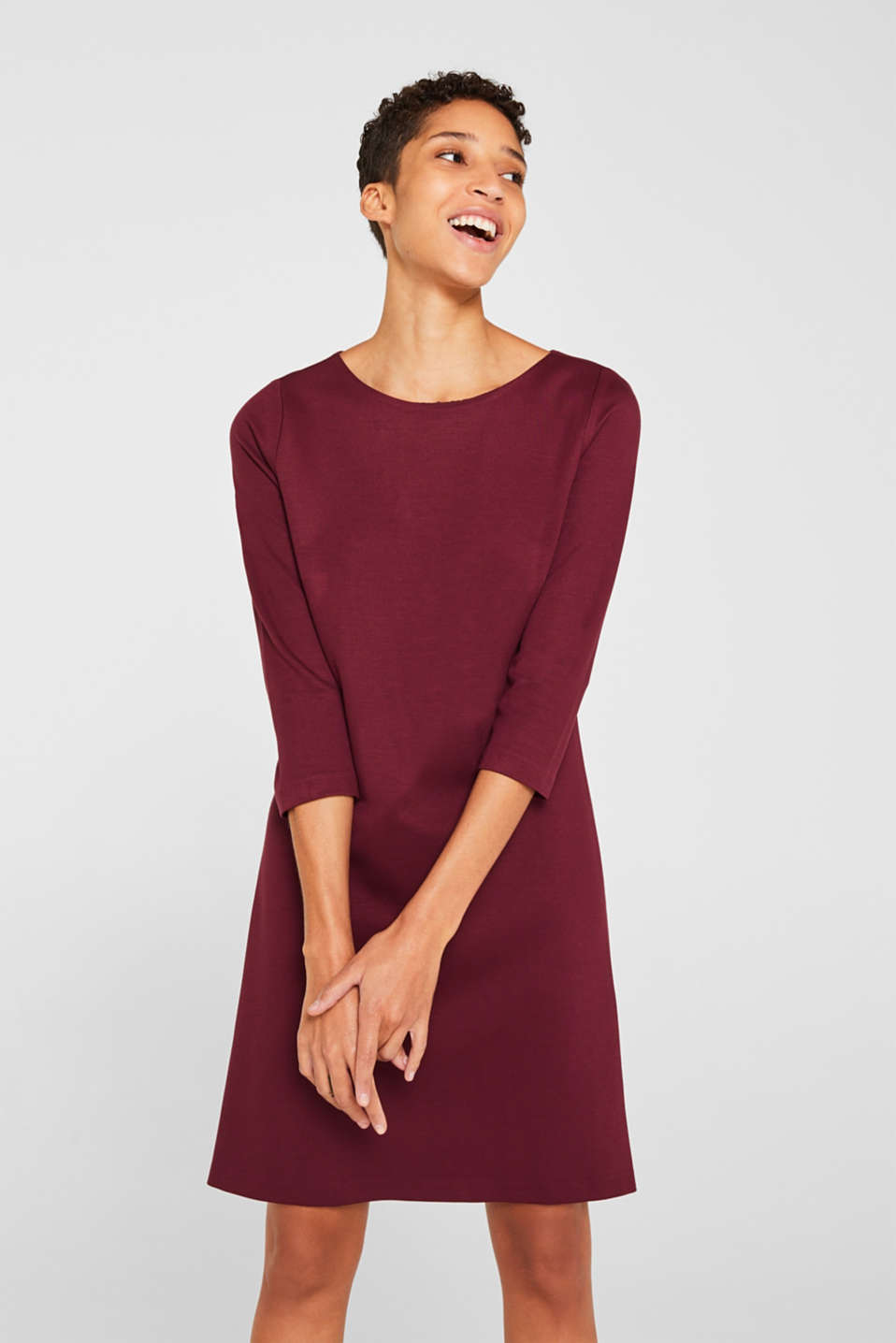 Stretch dress with a cut-out at the back, BORDEAUX RED, detail image number 5
