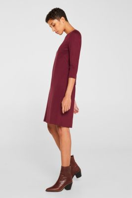 Stretch dress with a cut-out at the back, BORDEAUX RED, detail