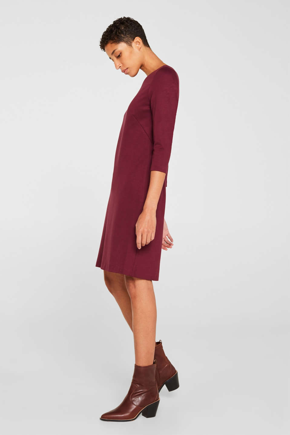 Stretch dress with a cut-out at the back, BORDEAUX RED, detail image number 1
