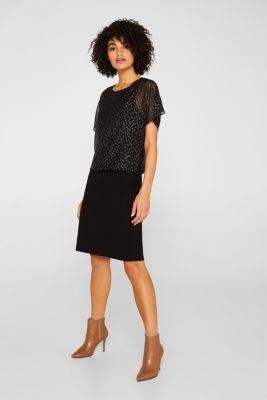 Dress made of chiffon and jersey, BLACK, detail