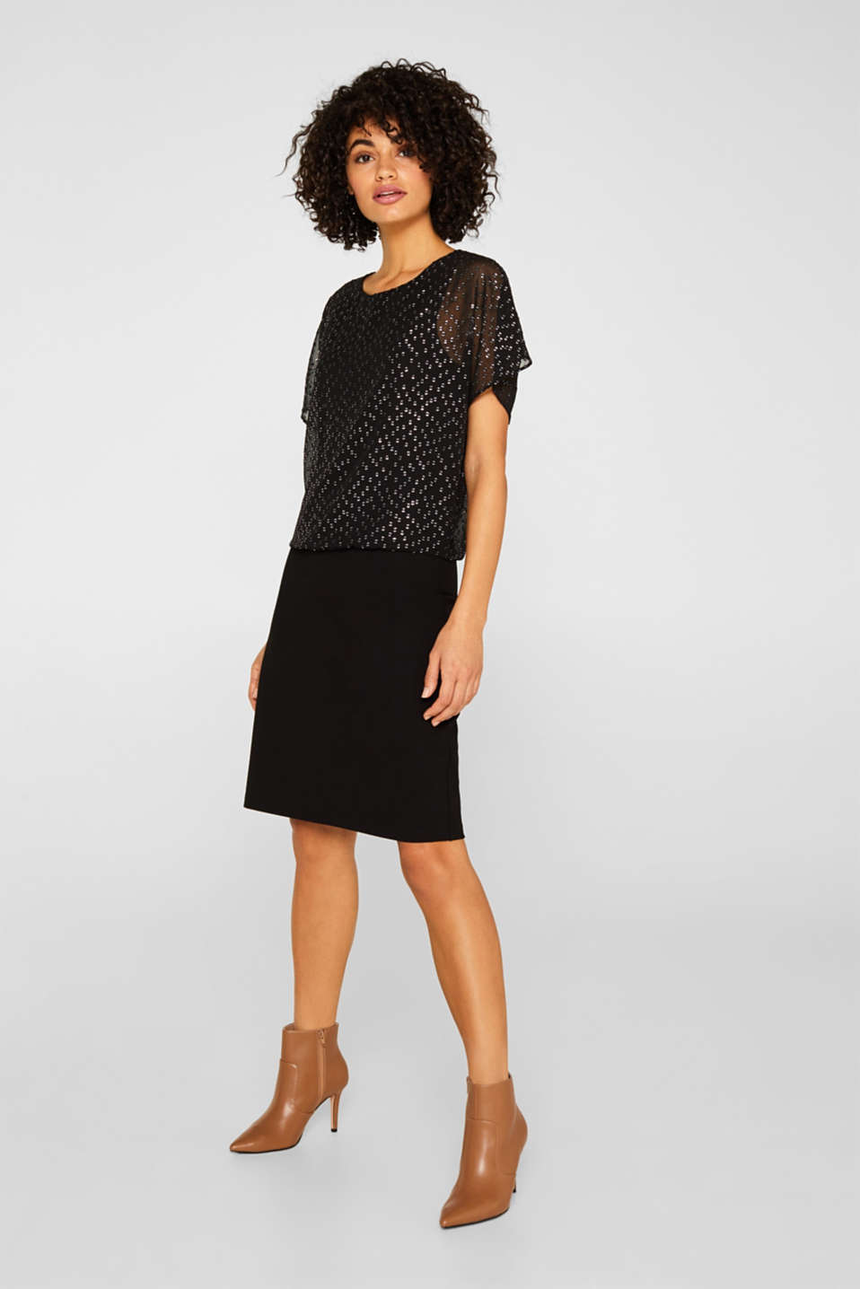 Dress made of chiffon and jersey, BLACK, detail image number 1