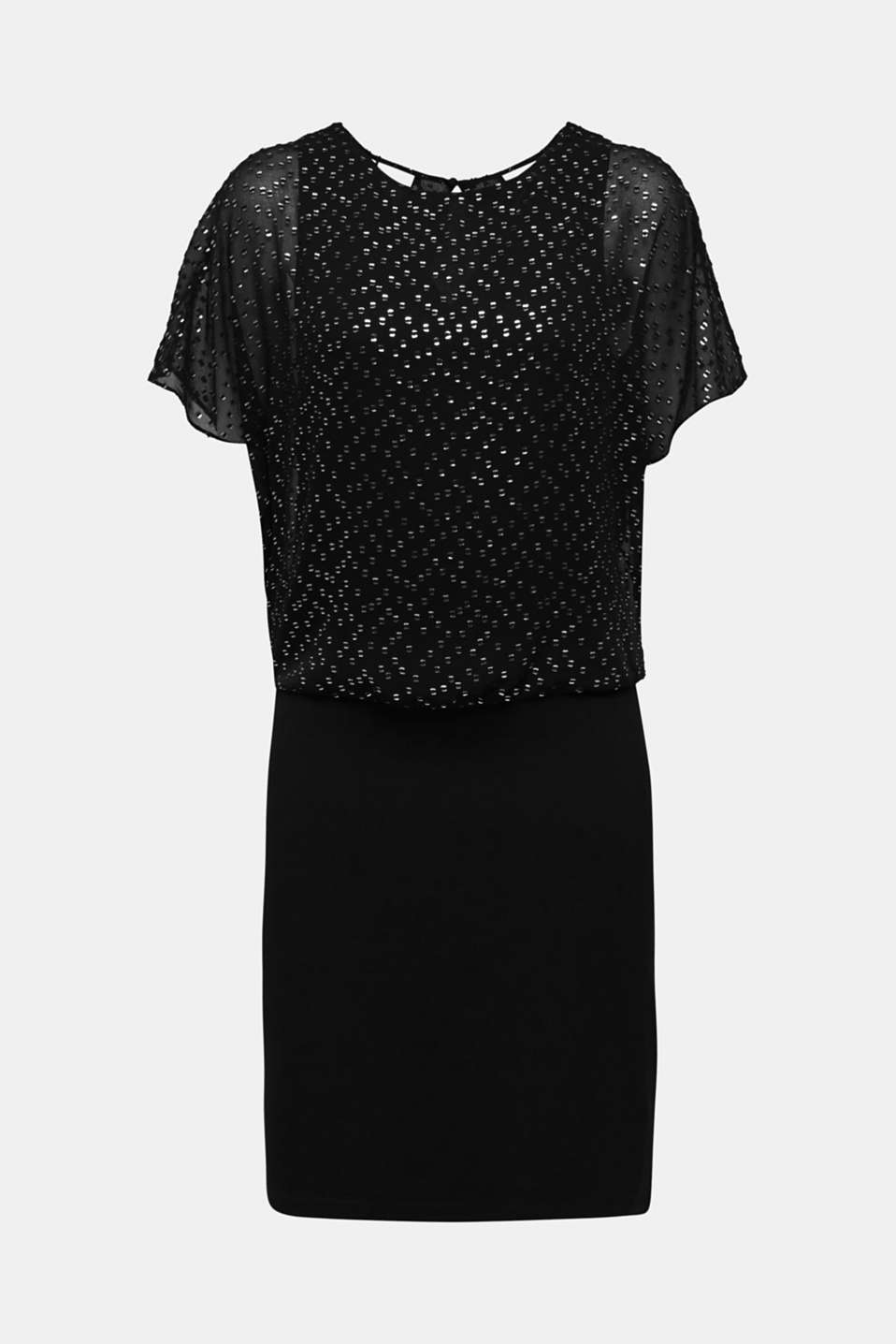 Dress made of chiffon and jersey, BLACK, detail image number 6