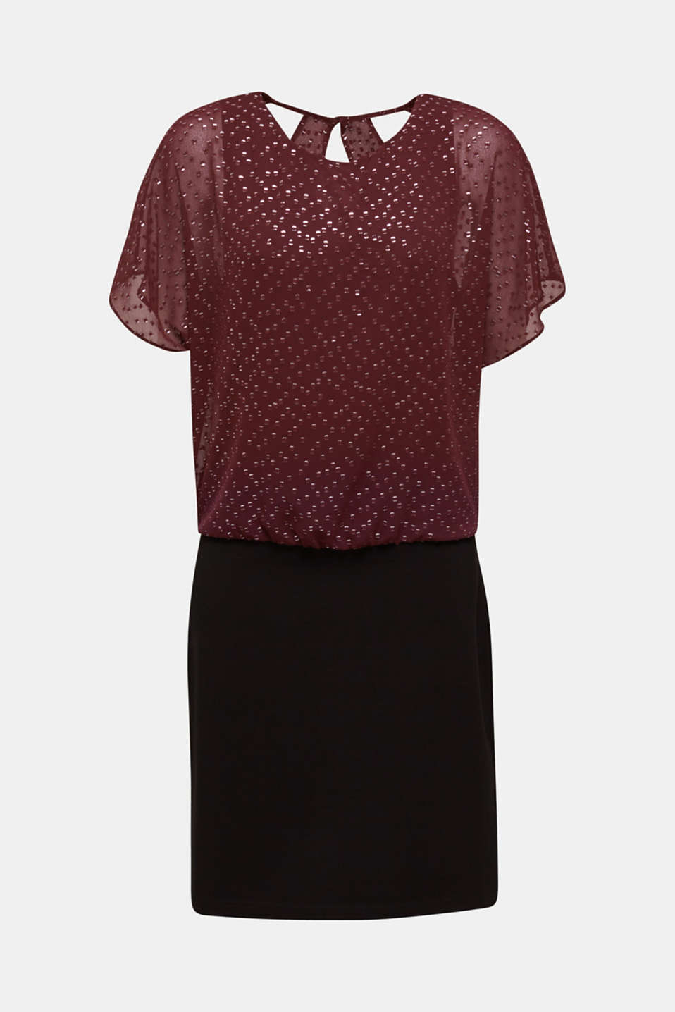 Dress made of chiffon and jersey, BORDEAUX RED, detail image number 6
