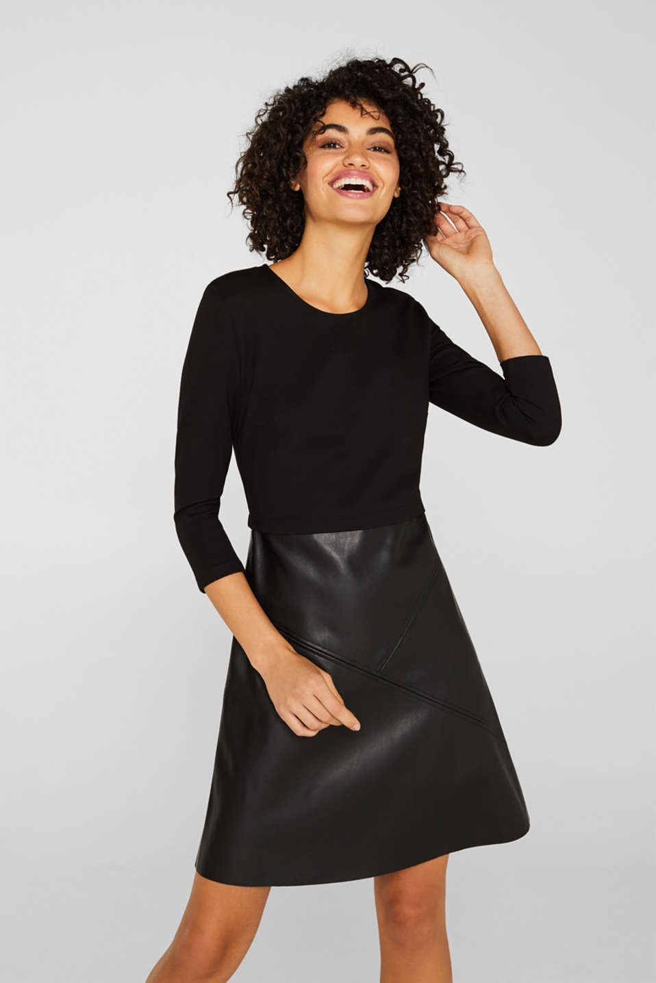 Jersey dress with faux leather skirt, BLACK, detail image number 0