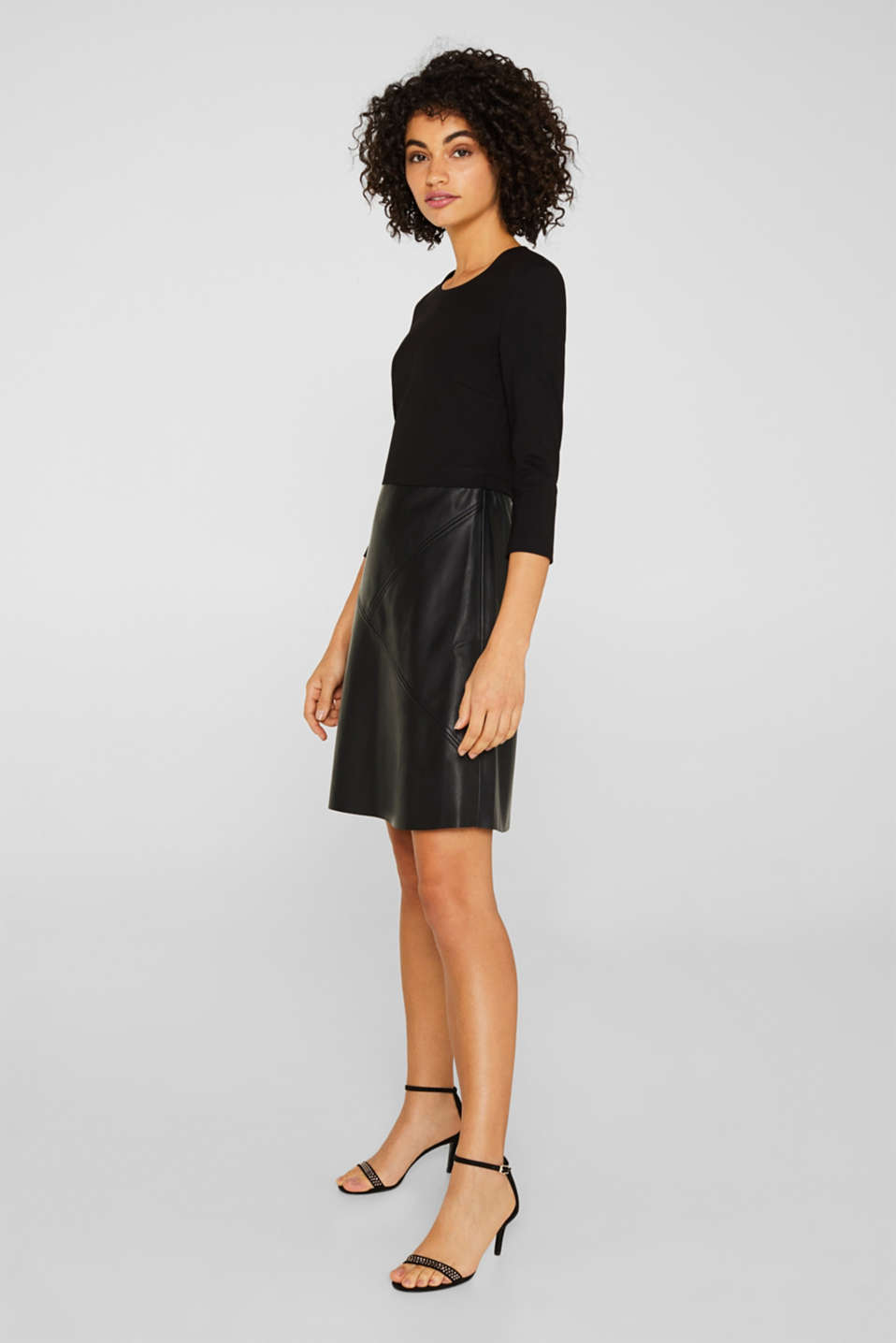 Jersey dress with faux leather skirt, BLACK, detail