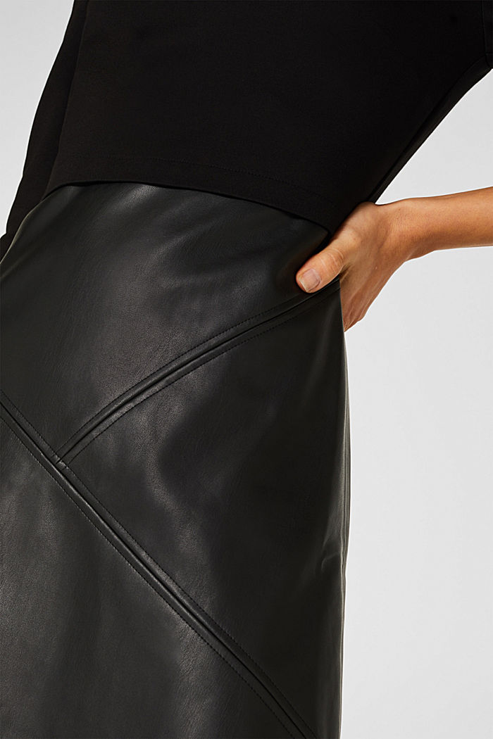 Jersey dress with faux leather skirt