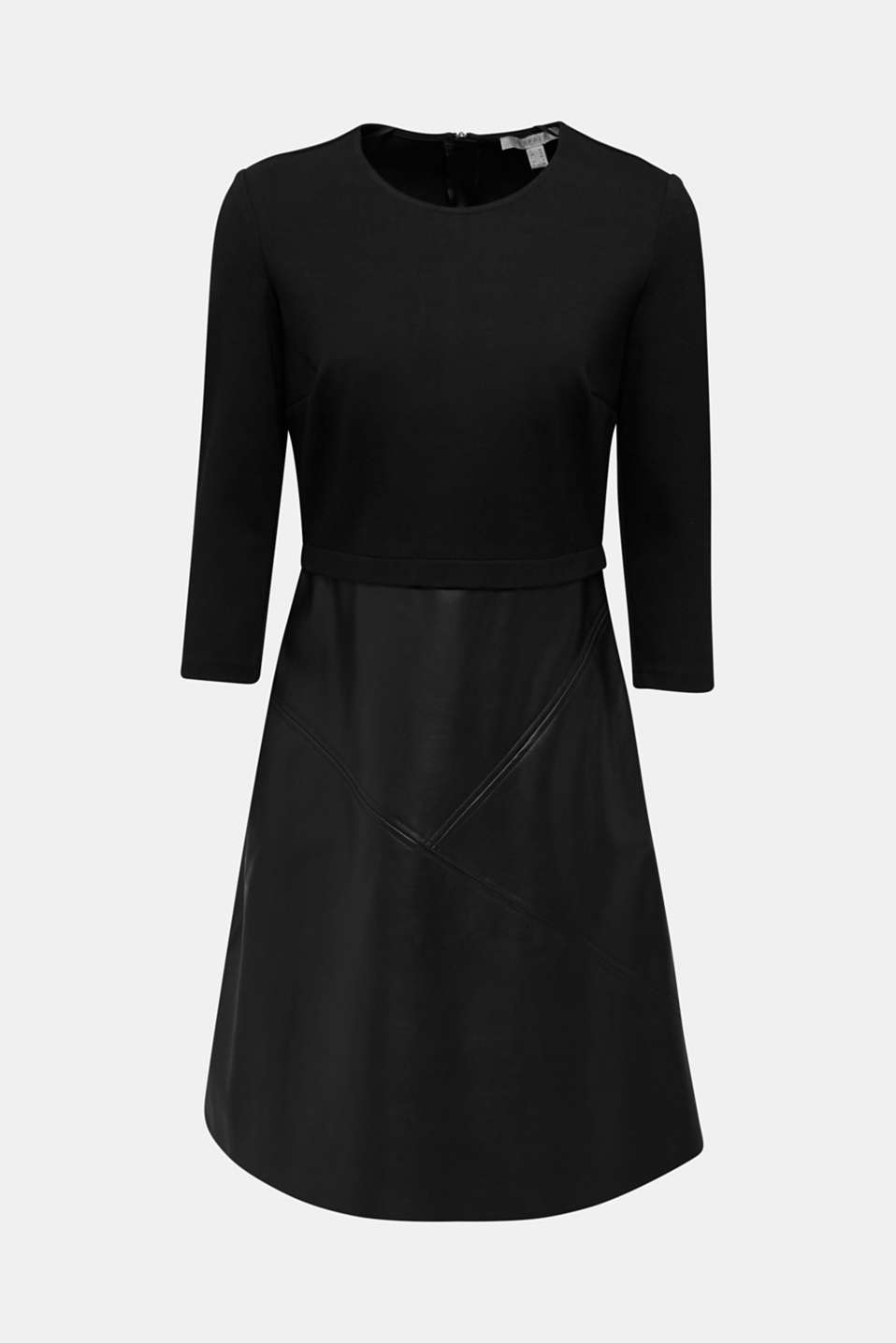 Jersey dress with faux leather skirt, BLACK, detail image number 5