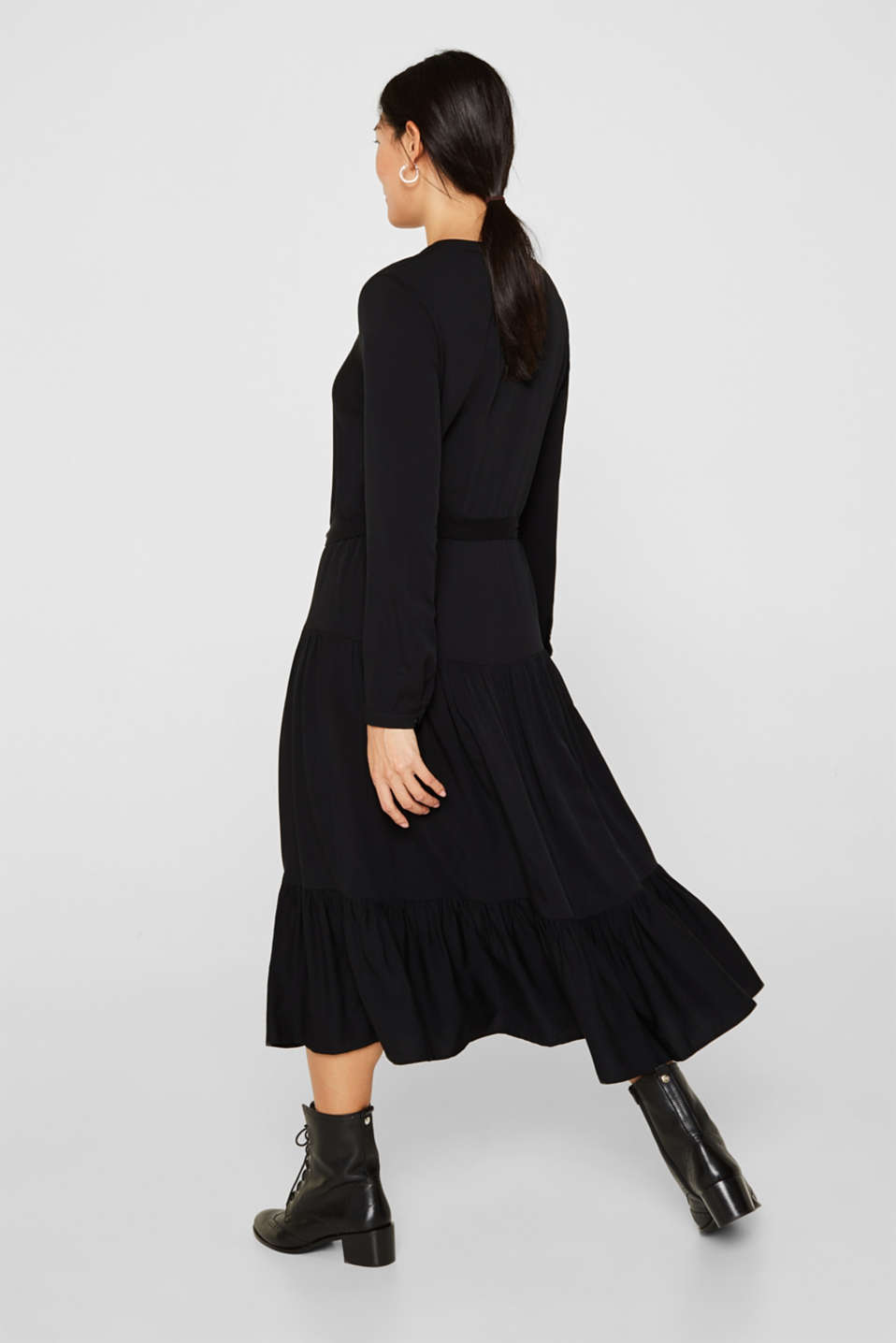 Midi dress with a tiered skirt, BLACK, detail image number 2