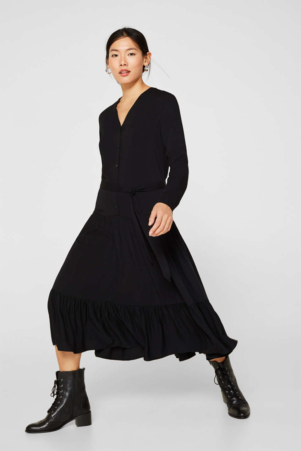 Midi dress with a tiered skirt, BLACK, detail image number 5
