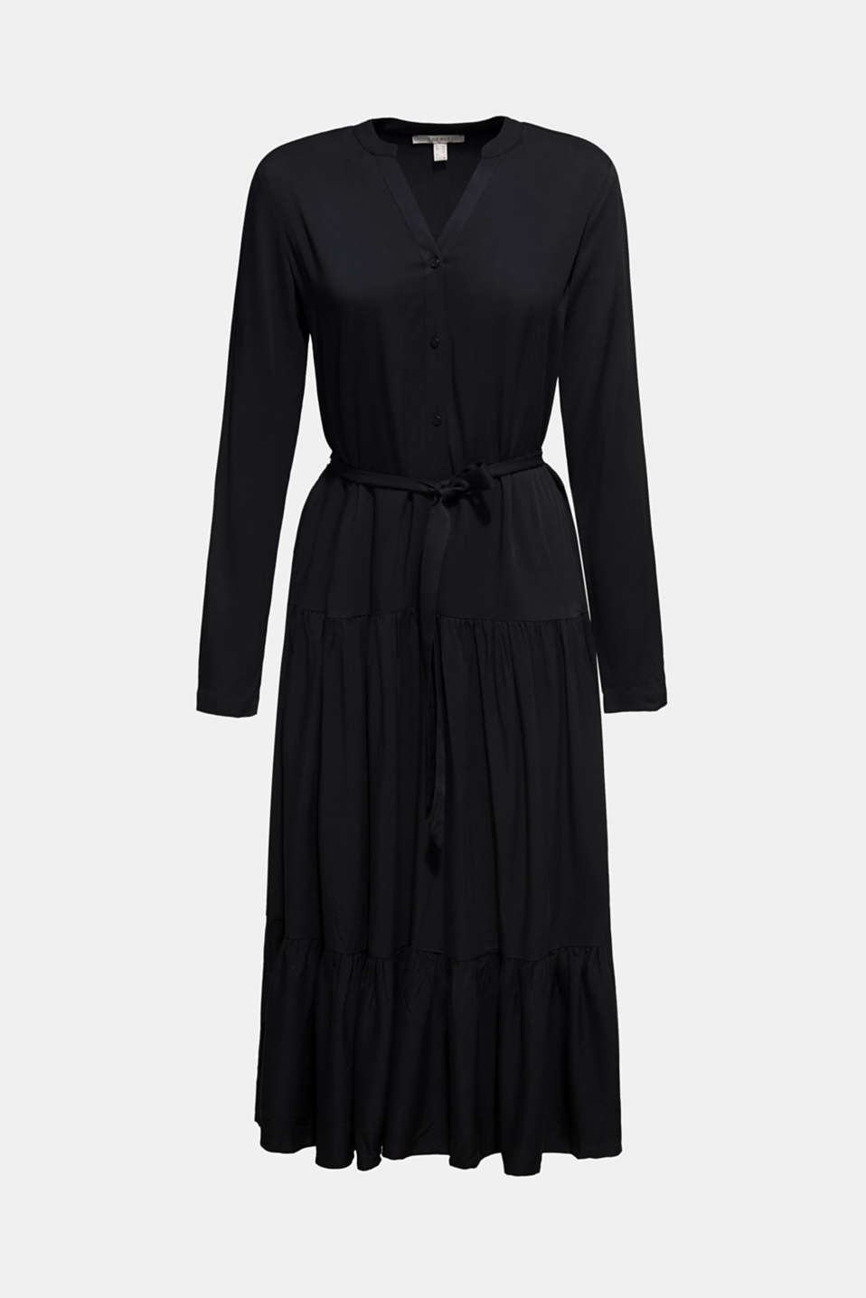 Midi dress with a tiered skirt, BLACK, detail image number 7