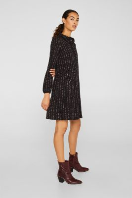 Shirt dress with a flounce hem, BLACK 2, detail