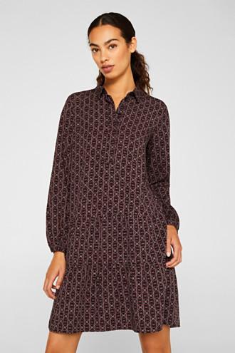 Shirt dress with a flounce hem