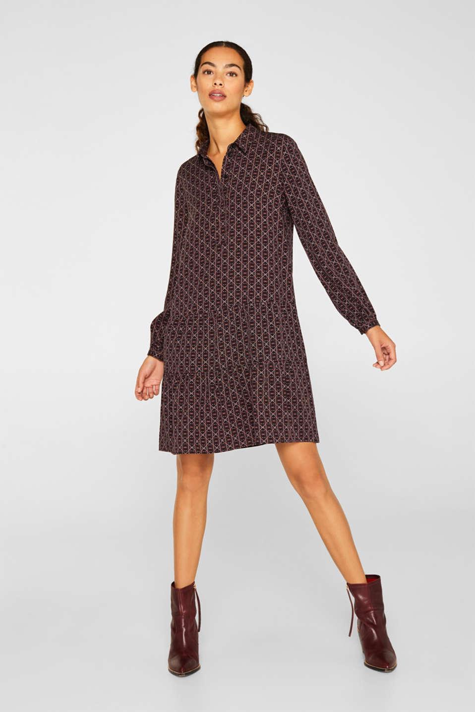 Shirt dress with a flounce hem, BLACK 4, detail image number 1