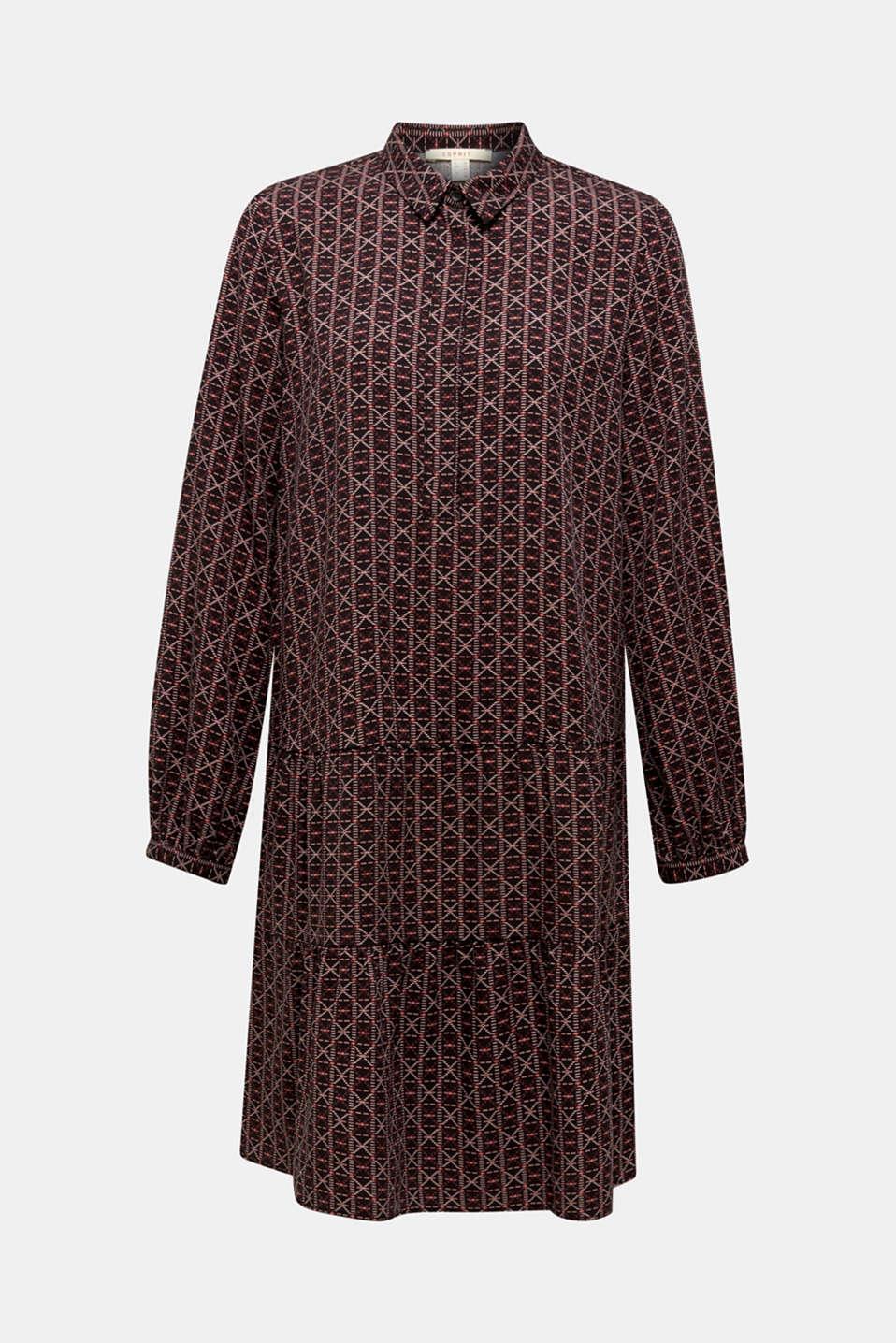 Shirt dress with a flounce hem, BLACK 4, detail image number 5