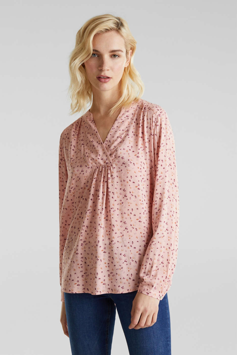 Print blouse with fashionable neckline, BLUSH, detail image number 0