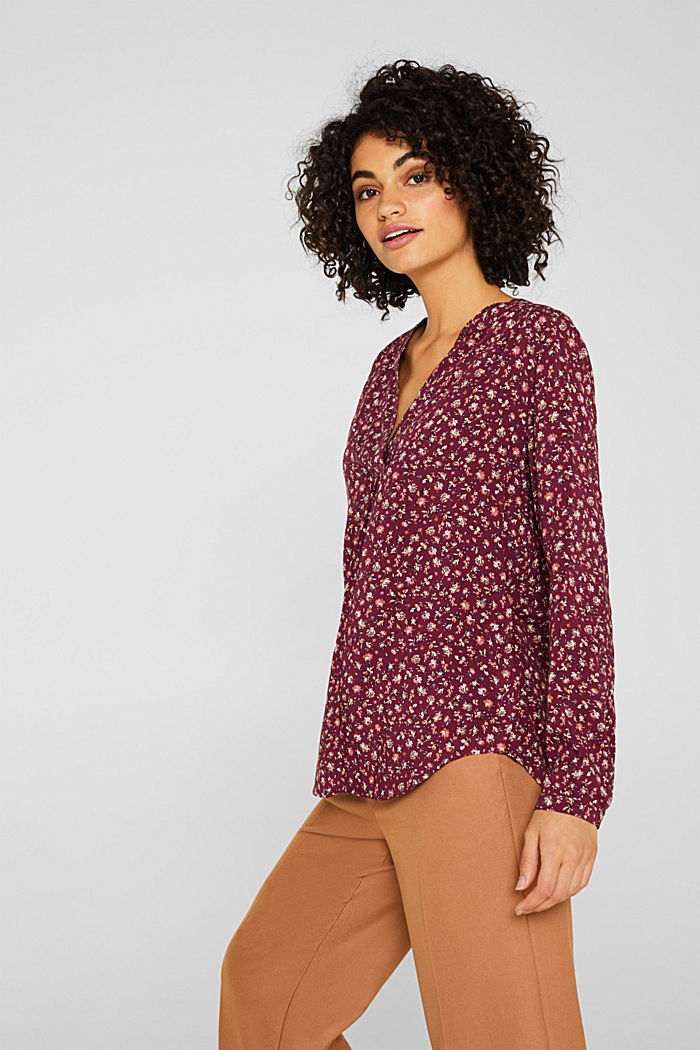 Tent blouse with a print, BORDEAUX RED, detail image number 5