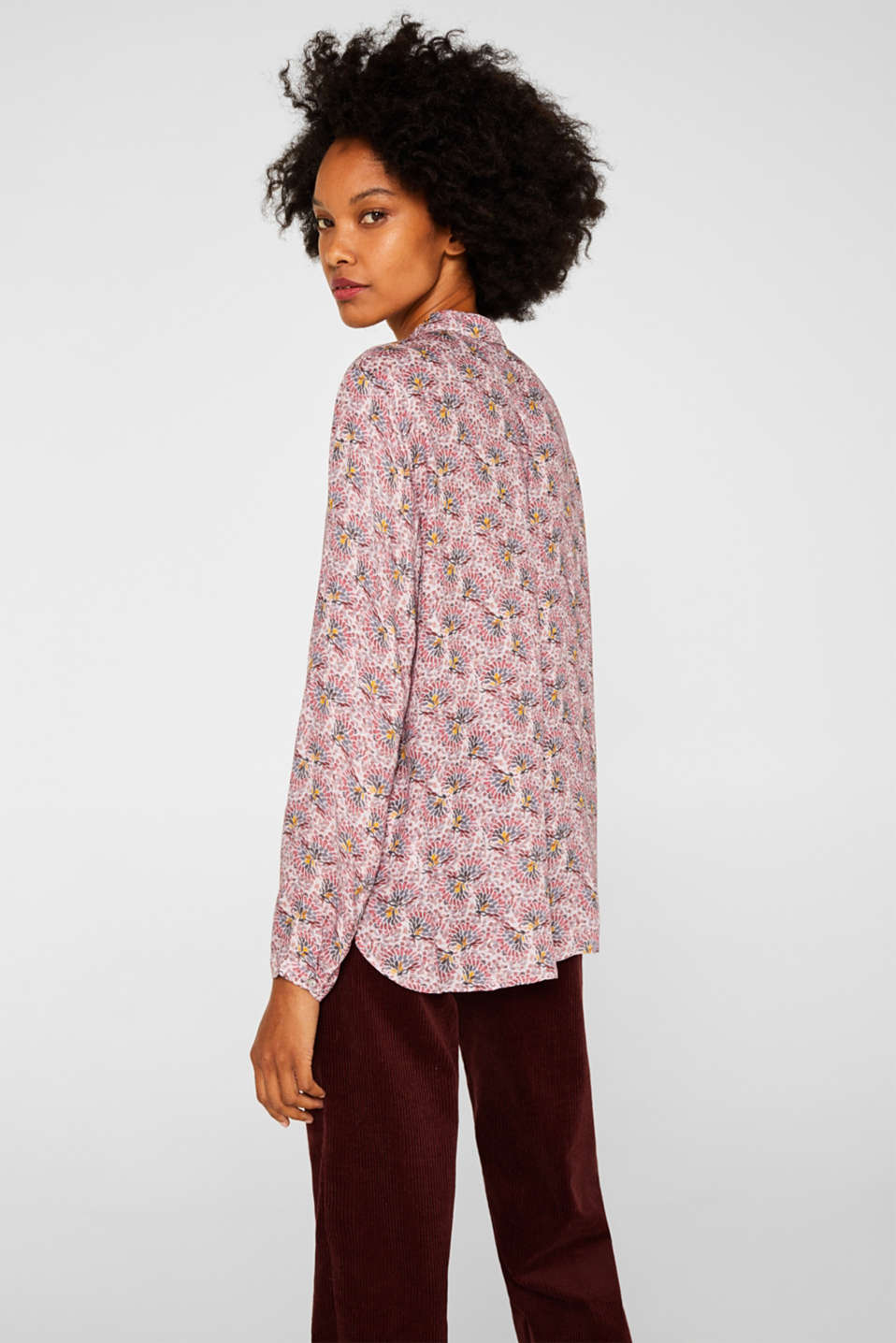 Crêpe blouse with all-over print, OLD PINK, detail image number 3