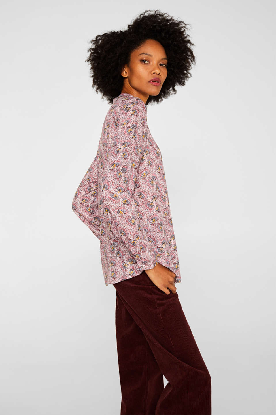 Crêpe blouse with all-over print, OLD PINK, detail image number 5