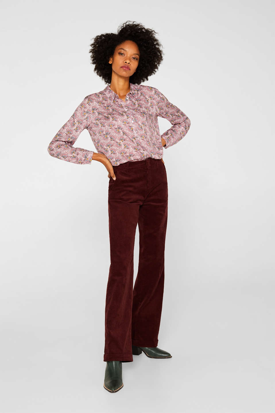 Crêpe blouse with all-over print, OLD PINK, detail image number 1