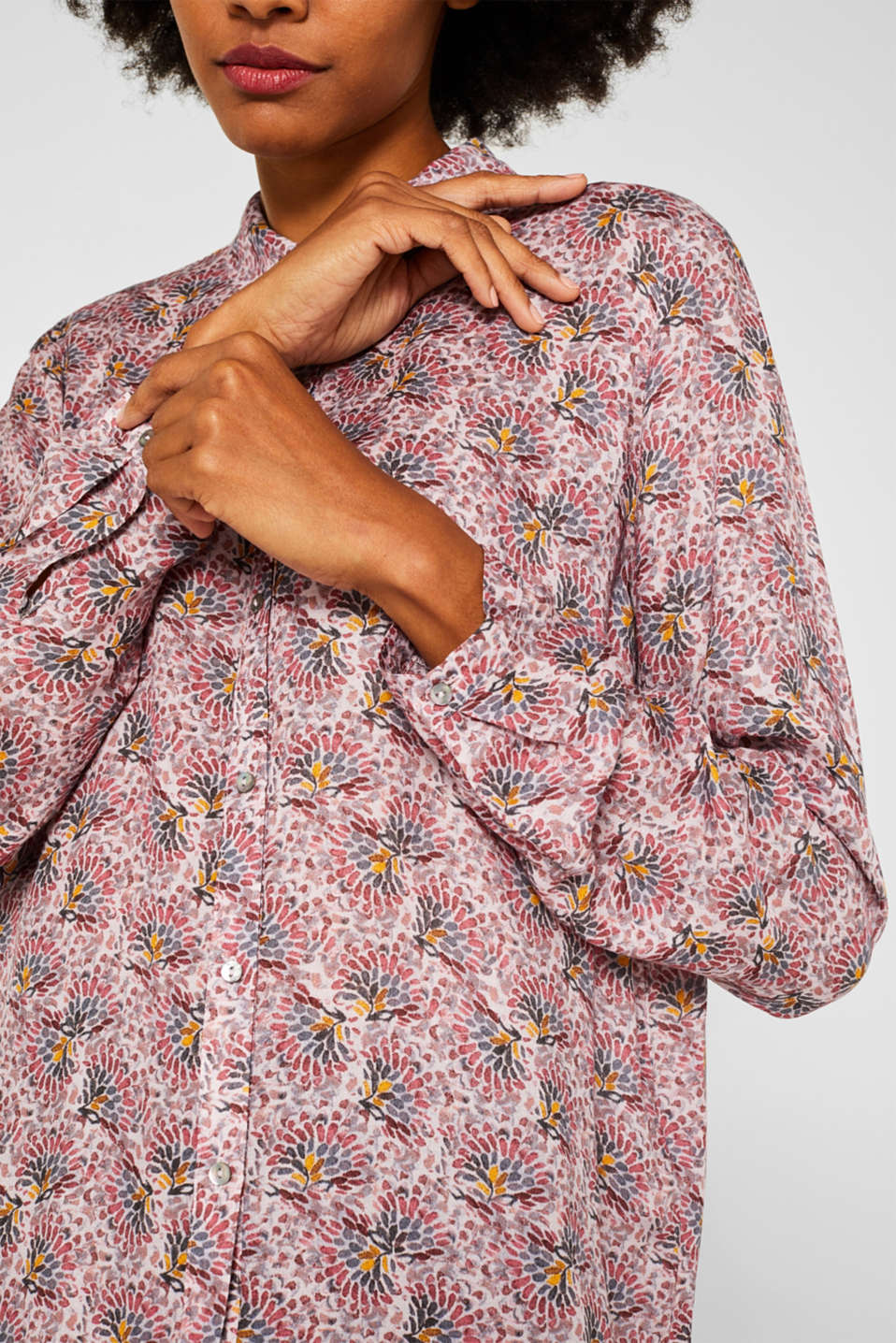 Crêpe blouse with all-over print, OLD PINK, detail image number 2