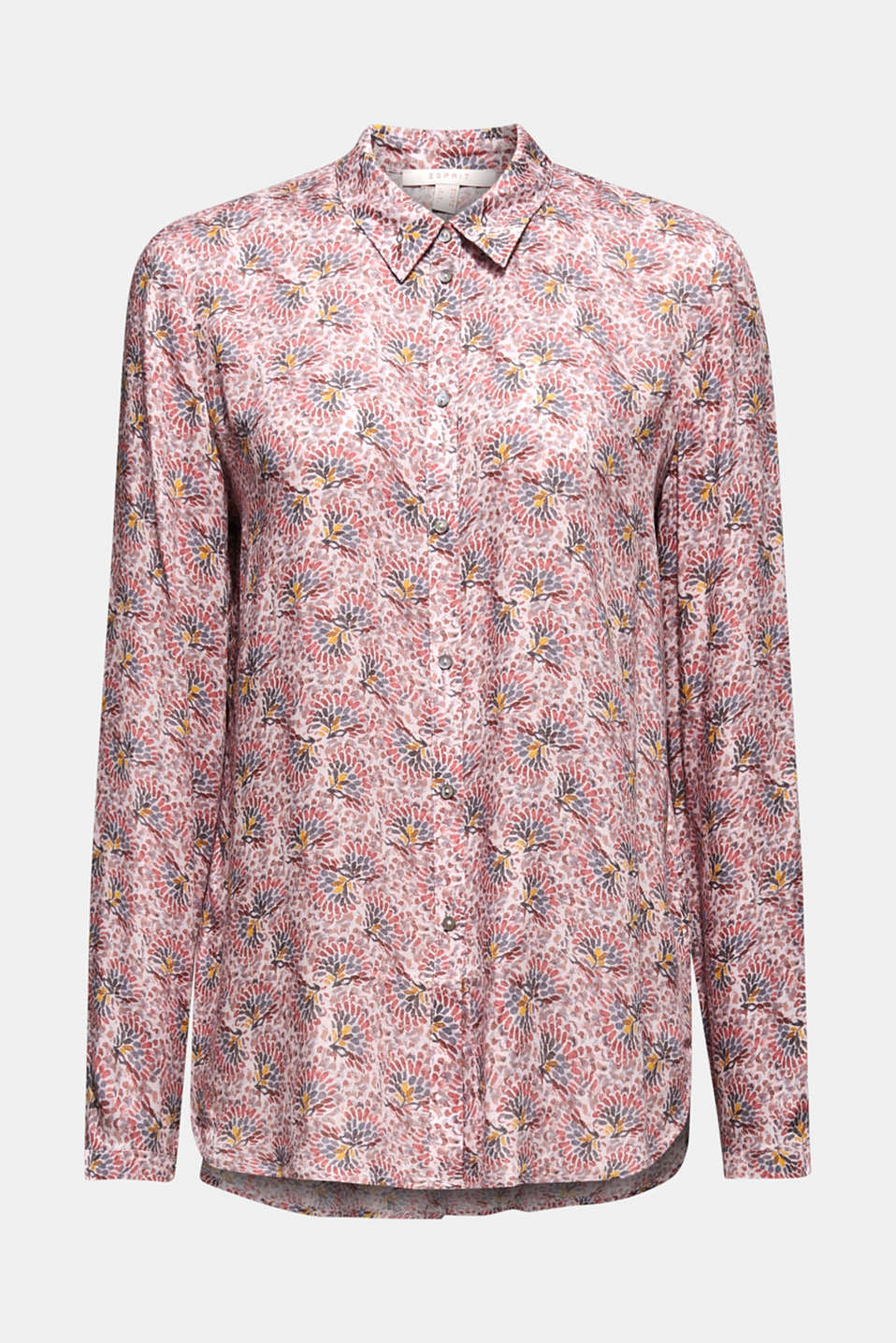 Crêpe blouse with all-over print, OLD PINK, detail image number 6