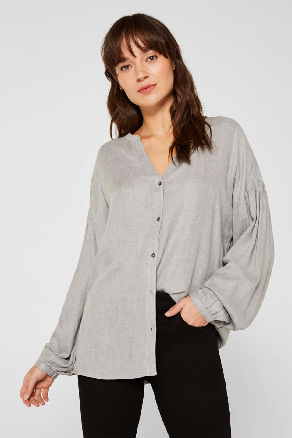 Esprit - Melange blouse with balloon sleeves