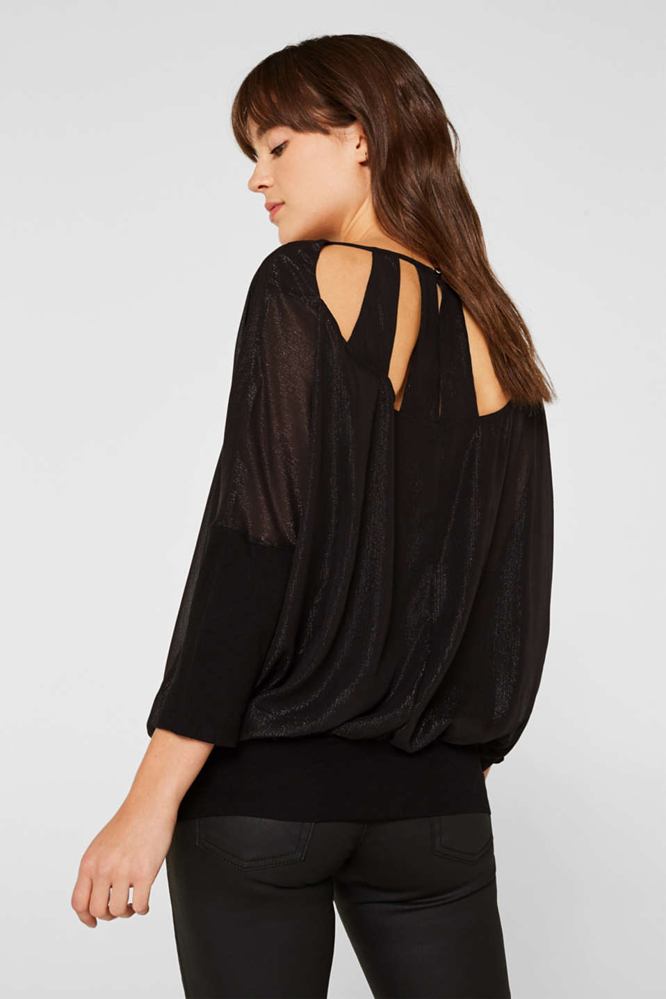 Blouse in crinkle chiffon, BLACK, detail image number 3