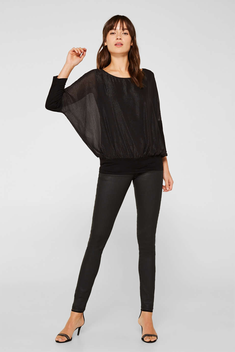 Blouse in crinkle chiffon, BLACK, detail image number 1