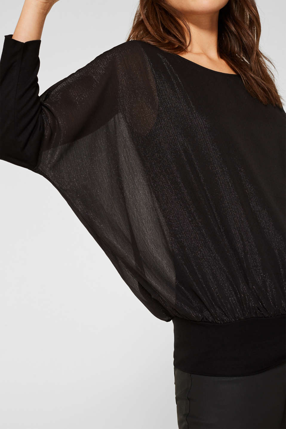Blouse in crinkle chiffon, BLACK, detail image number 2