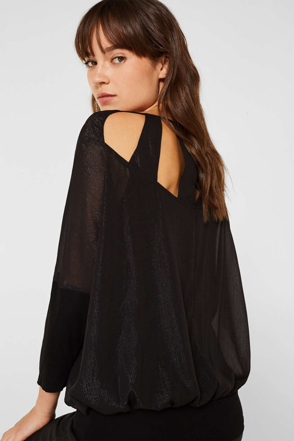 Blouse in crinkle chiffon, BLACK, detail image number 5