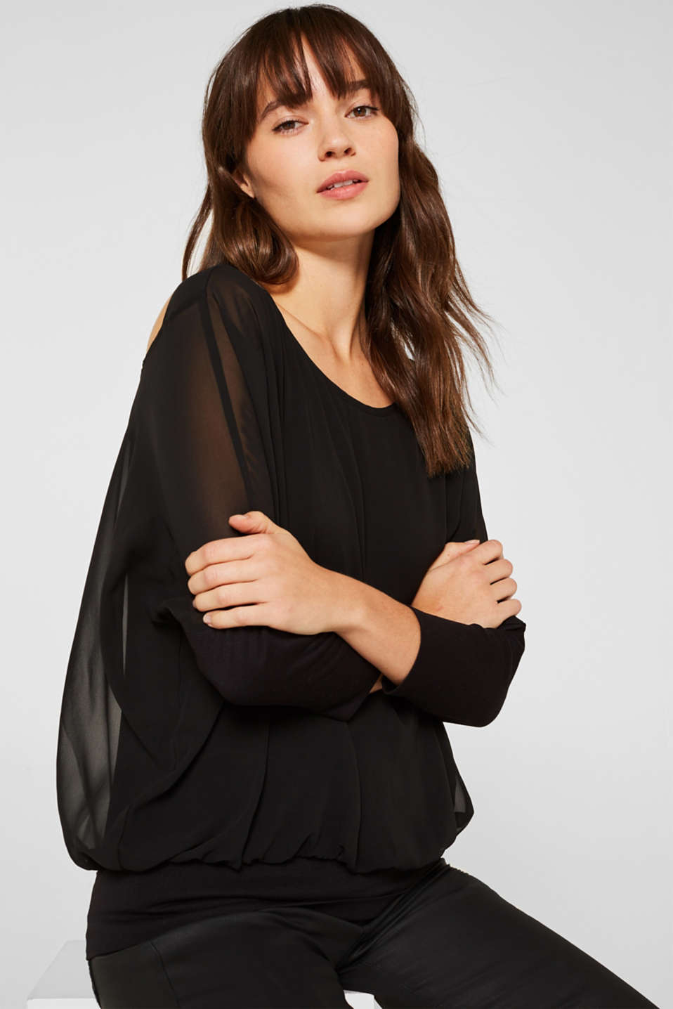 Batwing top made of chiffon/jersey, BLACK, detail image number 0