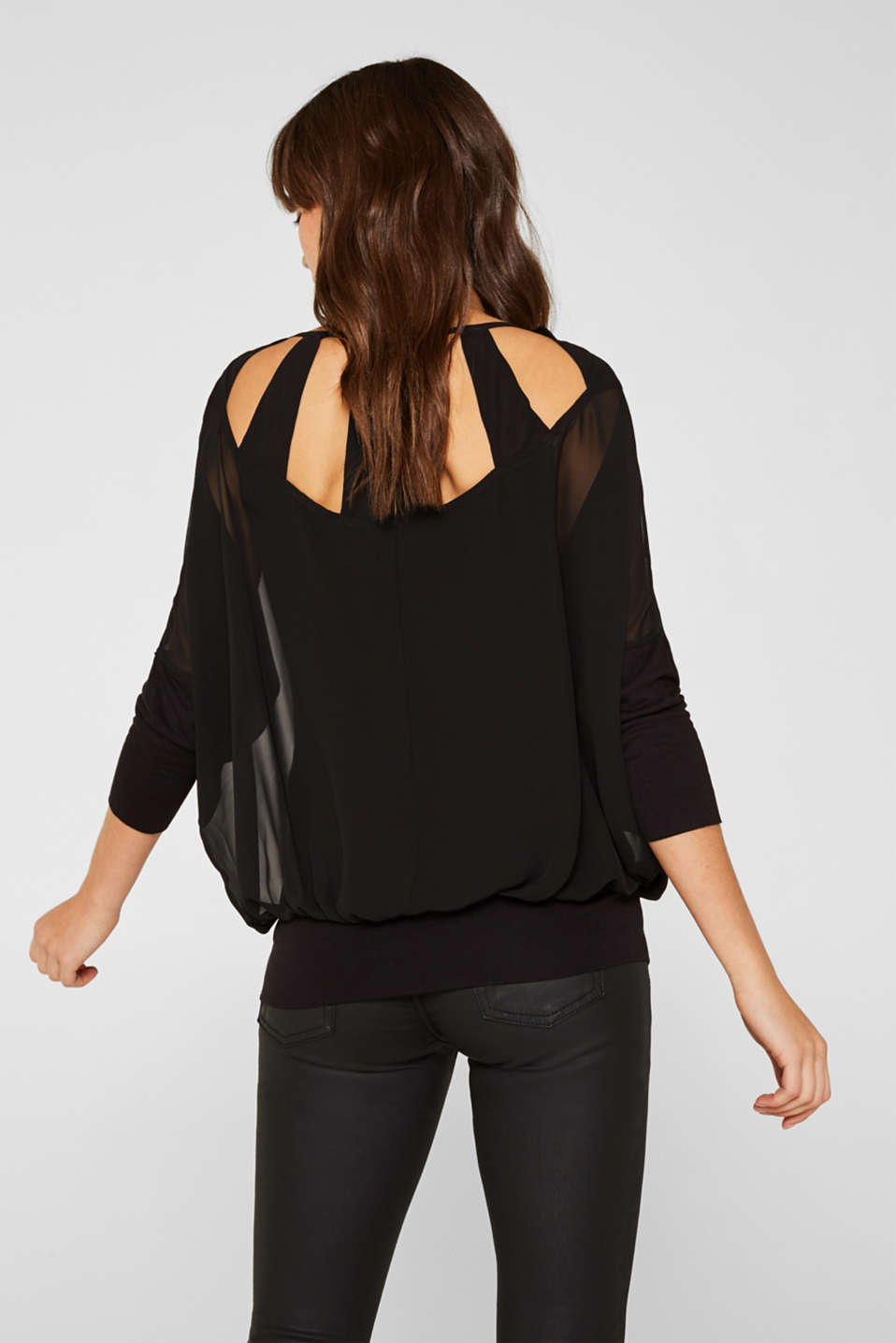 Batwing top made of chiffon/jersey, BLACK, detail image number 3