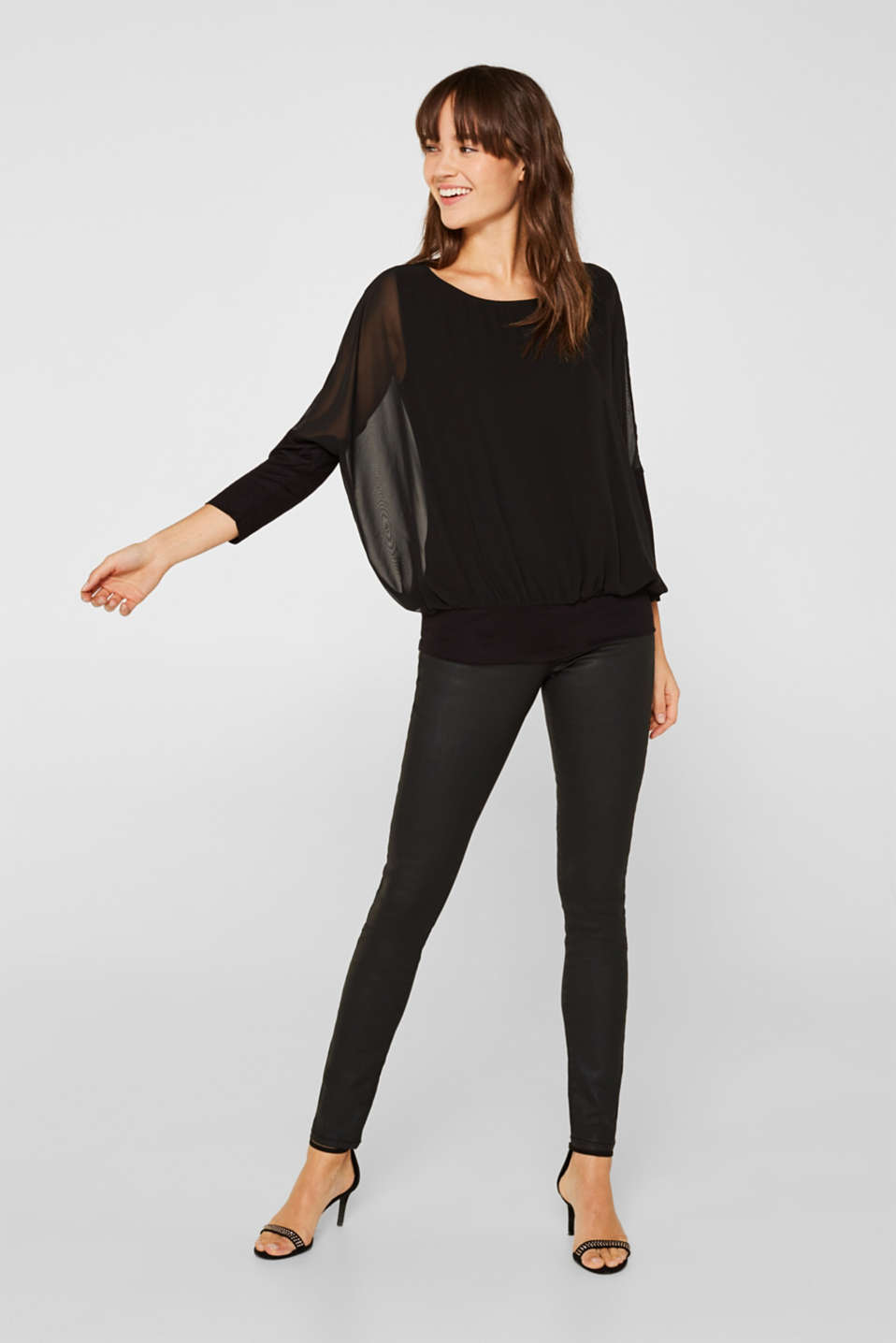 Batwing top made of chiffon/jersey, BLACK, detail image number 1