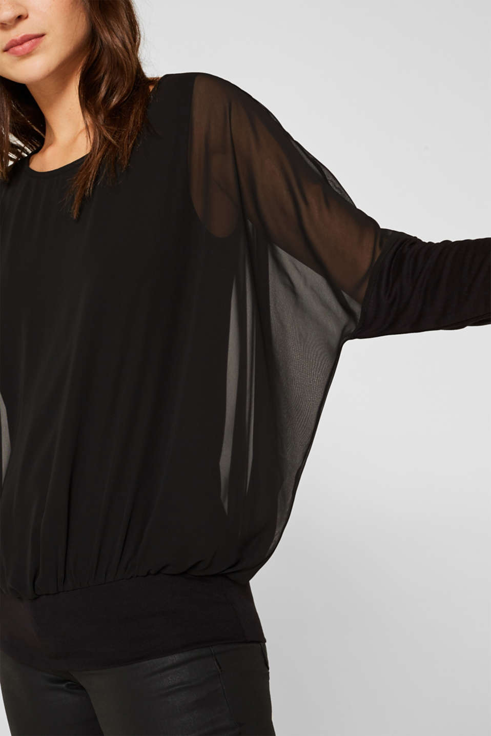 Batwing top made of chiffon/jersey, BLACK, detail image number 2
