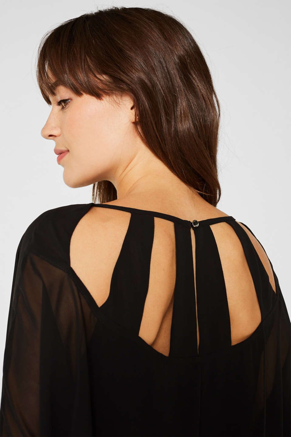 Batwing top made of chiffon/jersey, BLACK, detail image number 5