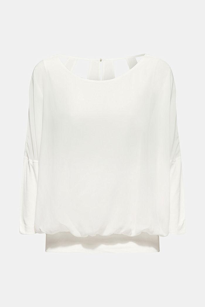 Fledermaus-Shirt aus Chiffon/Jersey, OFF WHITE, detail image number 0