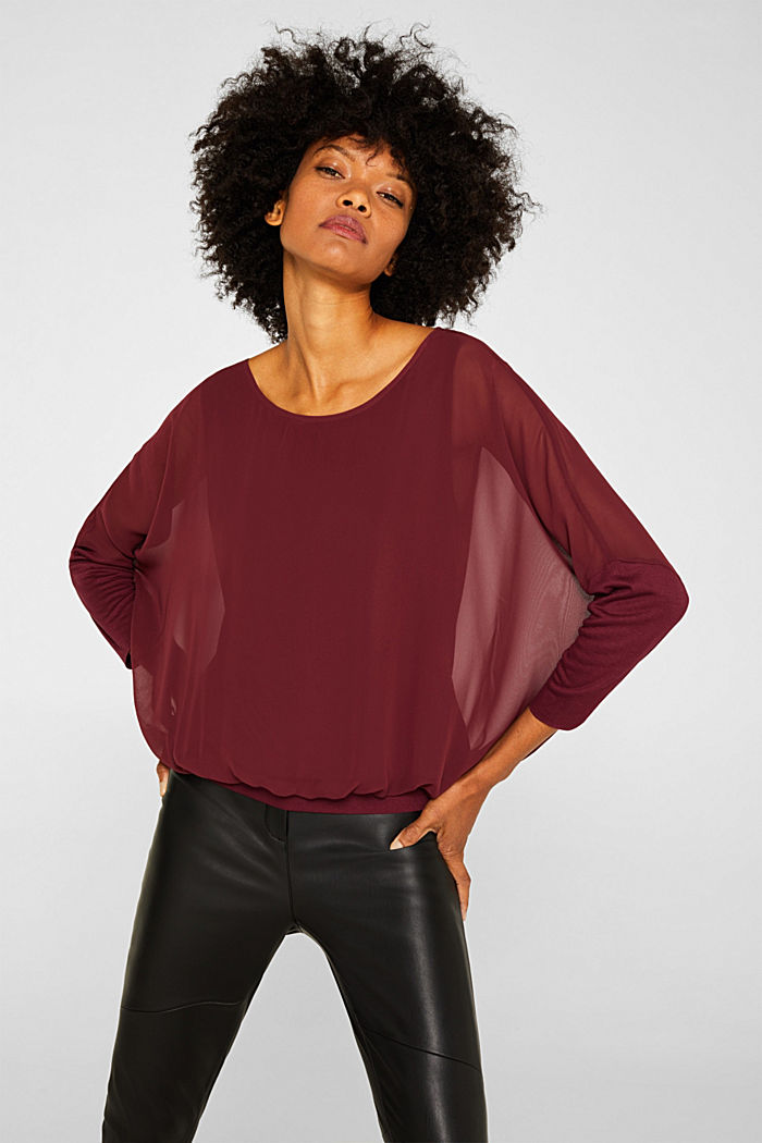 Batwing top made of chiffon/jersey, GARNET RED, detail image number 0