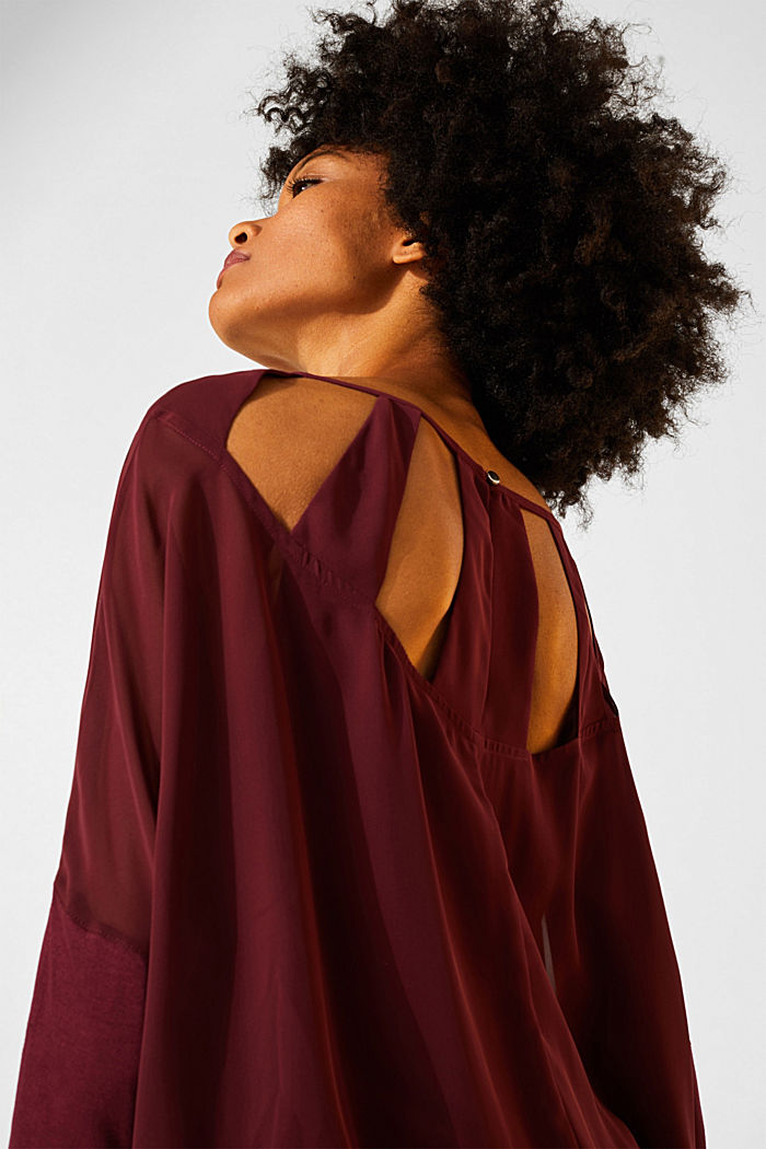 Batwing top made of chiffon/jersey, GARNET RED, detail image number 2