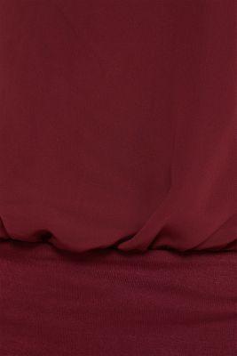 Batwing top made of chiffon/jersey, GARNET RED, detail