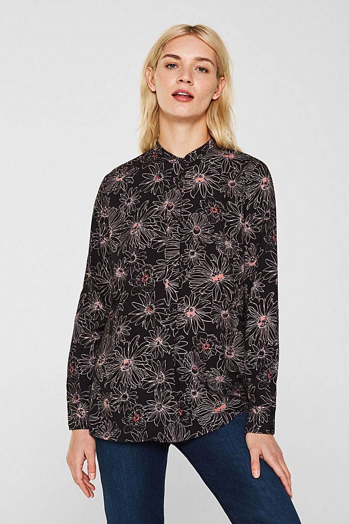 Slip-on blouse with a print and band collar, BLACK, detail image number 0