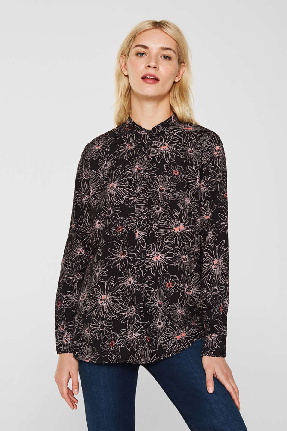 Slip-on blouse with a print and band collar, BLACK 3, detail image number 0