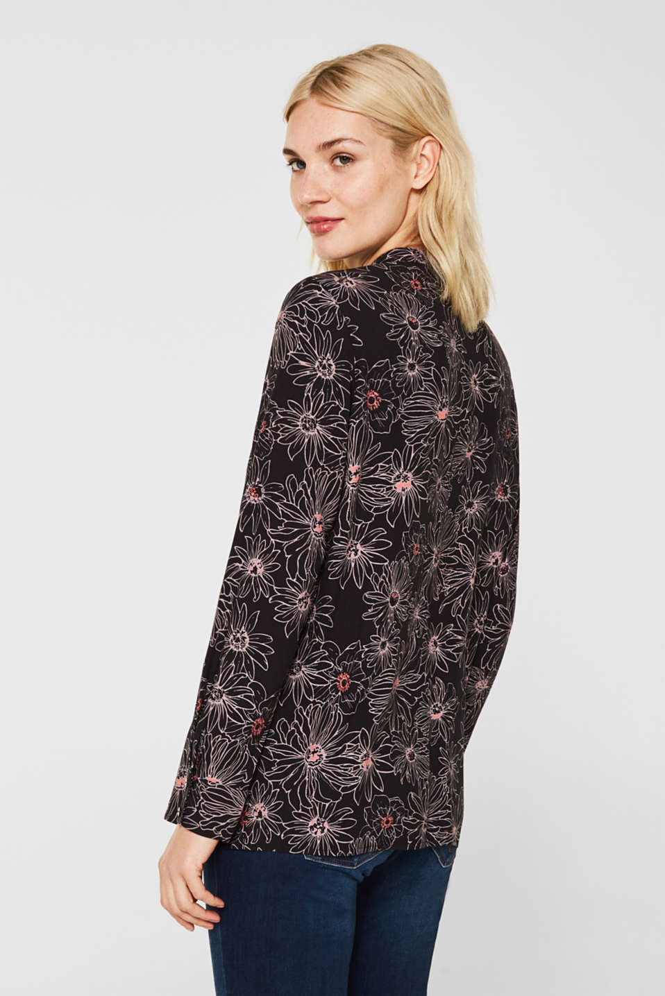 Slip-on blouse with a print and band collar, BLACK 3, detail image number 3